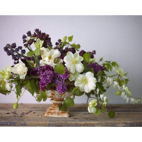 Bella Fiori in Washington, Urn with purple lilacs, white clematis, bleending hearts, persica frittalaria, and tulips