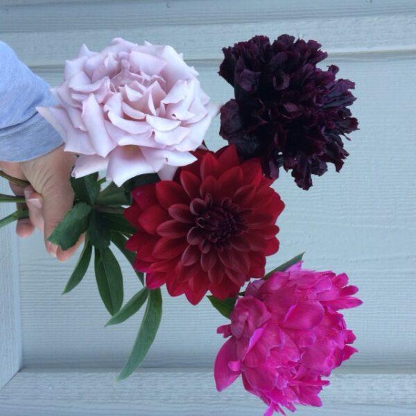Koko Loko Rose, dahlia, peony poppy and a peony