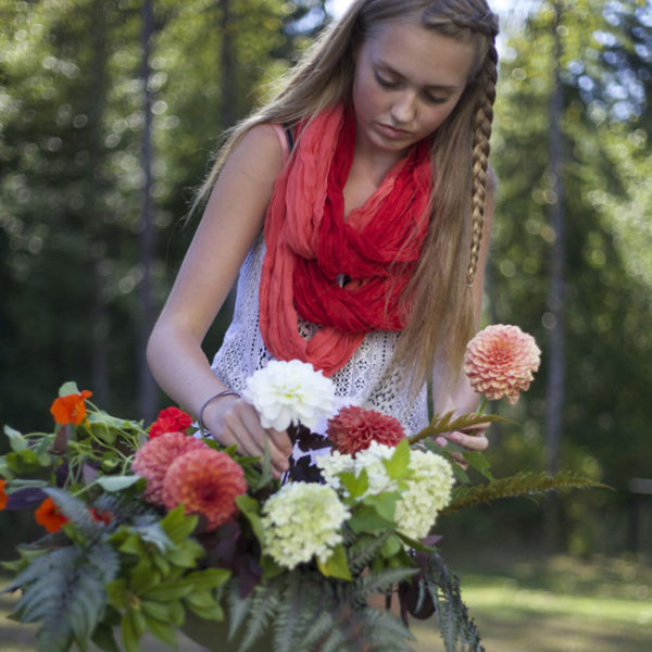 Maddie Arranging Flowers