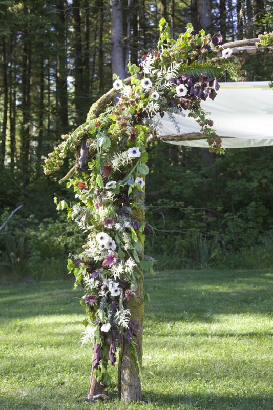 Rustic, Woodland Wedding Chuppah designed at a Flirty Fleurs Floral Design Class in Washington.