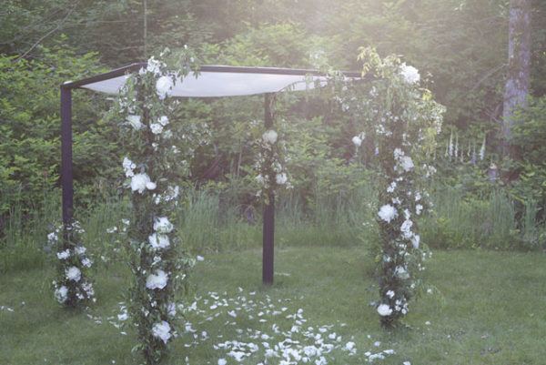 WildRose Chuppah with white peonies, from the Flirty Fleurs Floral Design Workshop, Florist Class
