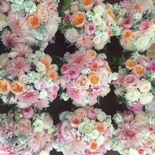 Designed by Bella Fiori, Washington. Blush centerpieces.
