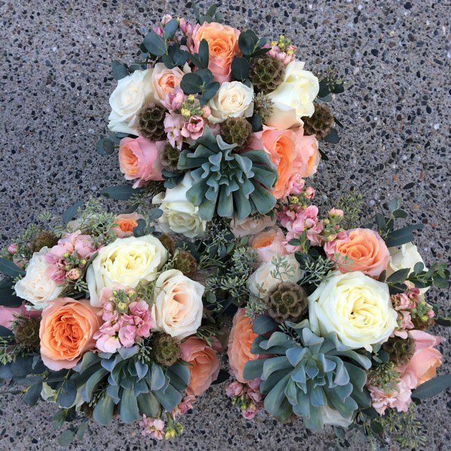 designed by Bella Fiori Washington, The bridesmaids bouquets included succulents, scabiosa pods, salma roses, polo roses, milky way roses, seeded eucalyptus, Juliet garden roses, and peach stock.