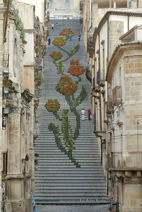 Sicily Stairs with Plants