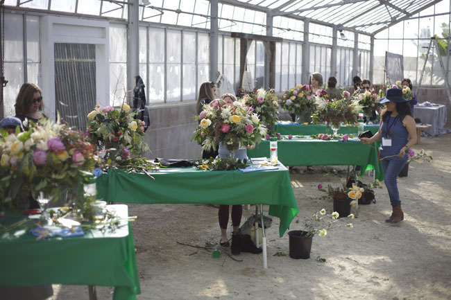 Florabundance Design Days 2016  - Students set up in the Dos Pueblos Orchid Farm greenhouses