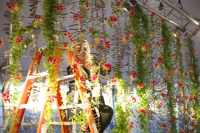 Florabundance Design Days 2016 - Stacey Carlton AIFD working on a Hitomi Gilliam installation