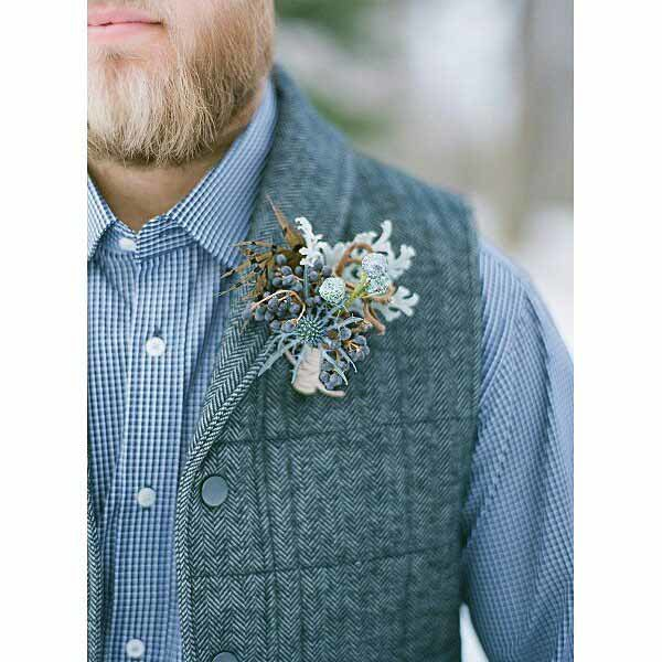 Bare Root Flora - Blue Texture Boutonniere - Colorado Weddings