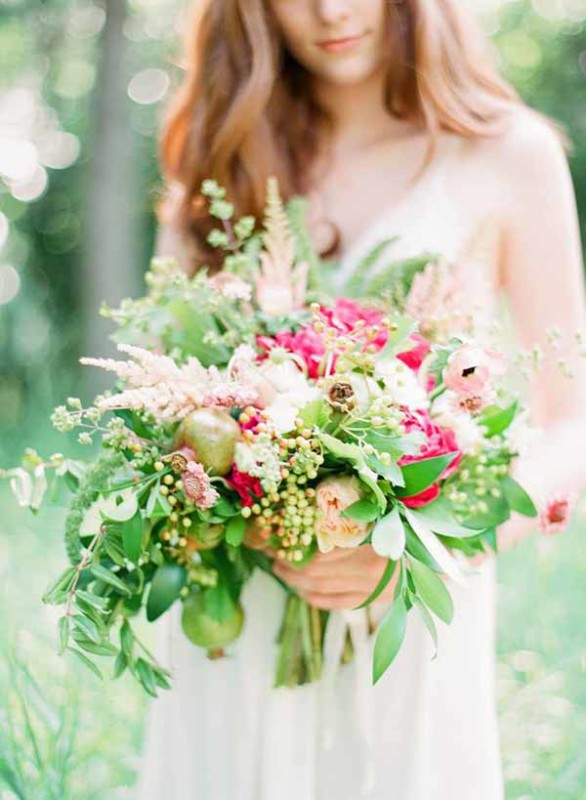 Bare Root Flora - Connie Dai Photography - textured pink and green bridal bouquet
