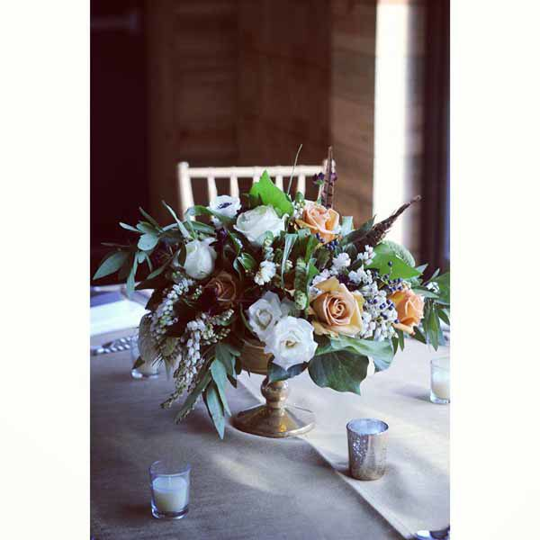 Bare Root Flora - Lane Dittoe - latte and white floral centerpiece