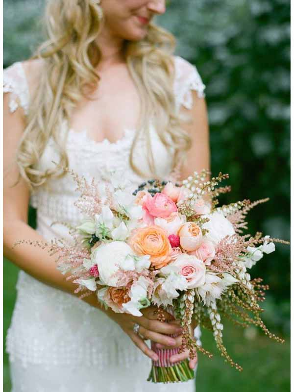 Bare Root Flora - Laura Murray Photography - blush and peach bridal bouquet - Colorado Wedding