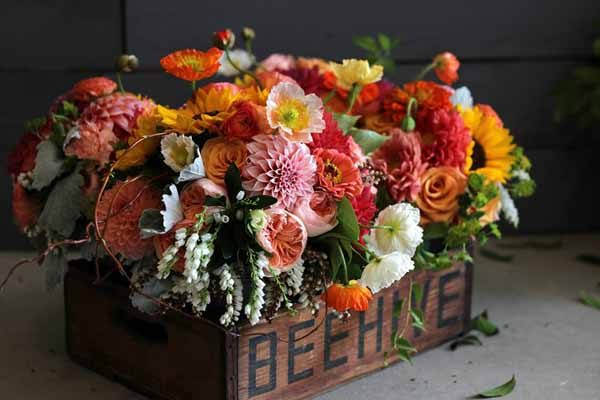 Bare Root Flora - Orange and Coral Bridal Party Bouquets