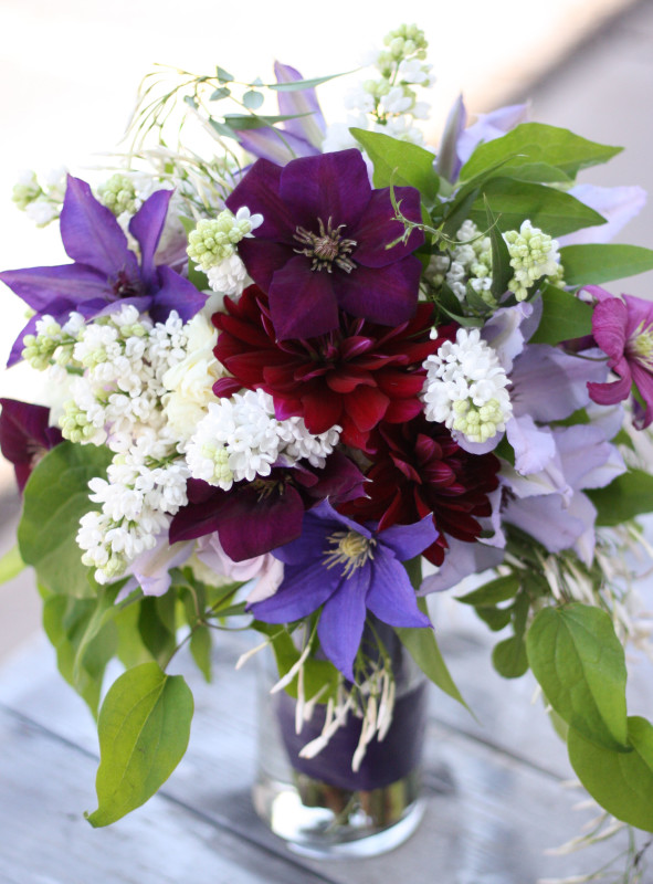 Bella Fiori Bridal Bouquet - lilacs, roses, clematis, and dahlias.