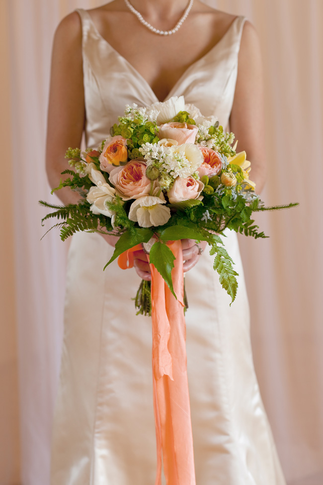 Flora Organica Designs - JJT Photo - Peach and White Bridal Bouquet
