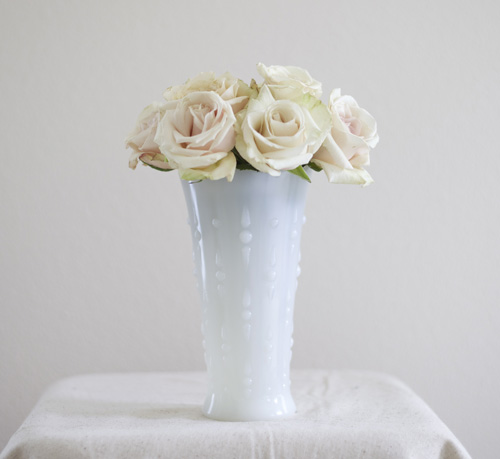 "7"" Tall White Milk Glass Vase"