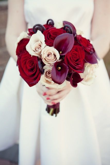 Anissa Rae Flowers & Refinements, NYC -  bridal bouquet of roses and calla lilies