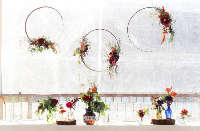 Fleurie Flowers, Reedley, California, hanging flowers behind the bar
