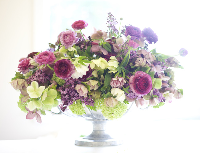 Bella Fiori Washington; arrangement of hellebores, ranunculus, viburnum