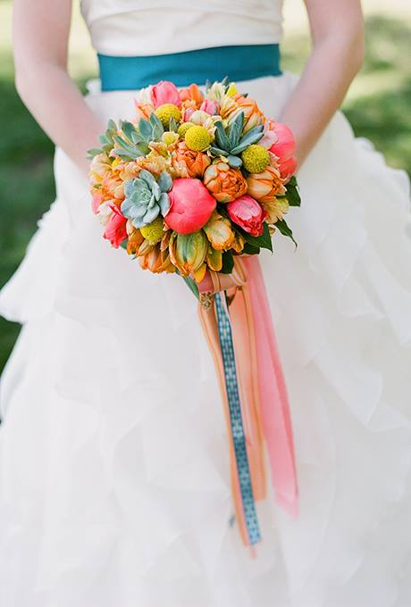 Southern Blooms by Pat's Floral Designs - Eric Kelley -  Bouquet with Coral Charm Peonies, peach parrot tulips, craspedia, and succulents