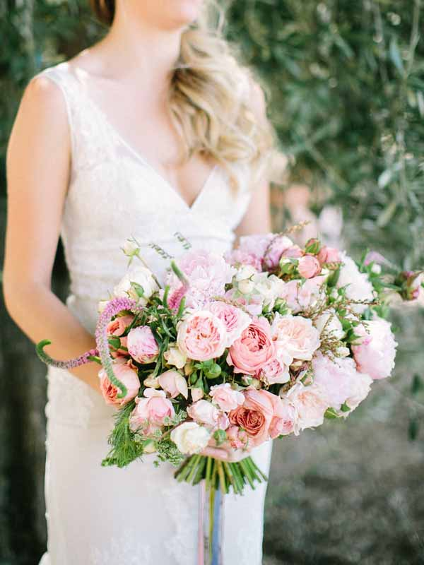 Kaleb Norman James - Pink Bridal Bouquet of Garden Roses - Seattle Weddings