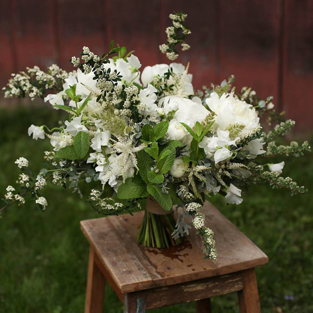 Floral Verde LLC - Cincinnati Florist - white bridal bouquet with spirea, peonies, astilbe, and sweepteas
