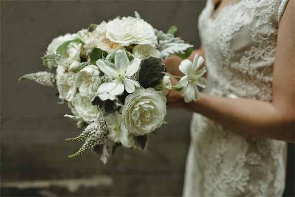 Botanique Flowers - All white bridal bouquet - Chantal Andrea  PHotography