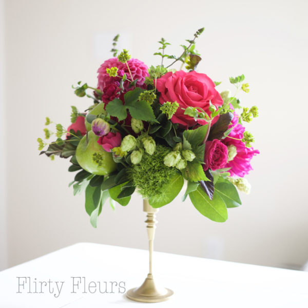 Bella Fiori Wedding Flowers Washington State - green and pink floral centerpiece on gold pedestal