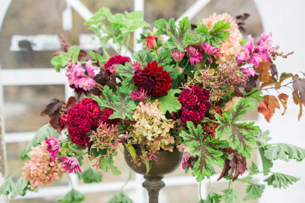 Buckeye Blooms - Mandy Ford Photography - centerpiece with coxcomb, hydrangeas, dahlias, and geranium leaves