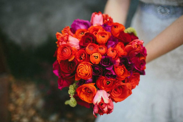Rachel Cho Floral Design New York City - red and orange ranunculus bouquet