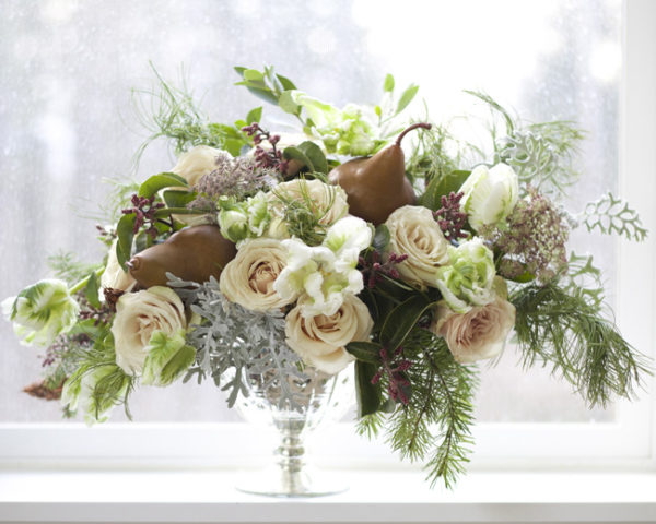 Bella Fiori, washington state florist, compote centerpiece winter look with tulips, roses, pine, and pears