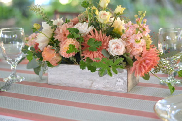Buckeye Blooms - centerpiece with dahlias, stock, lisianthus