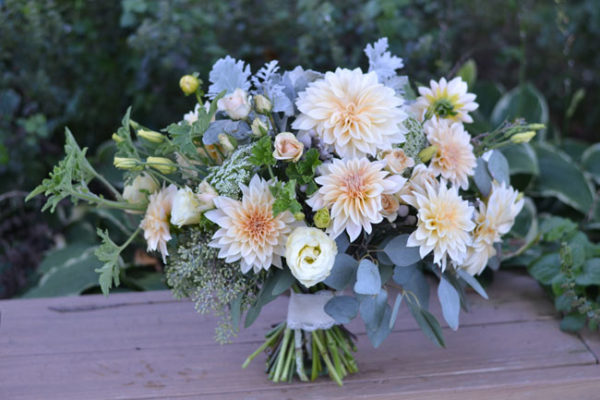 Buckeye Blooms bridal bouquets with cafe au lait dahlias