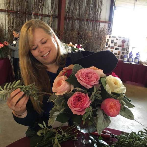 Alicia Schwede at Florabundance Design Days designing an arrangement with David Austin Roses