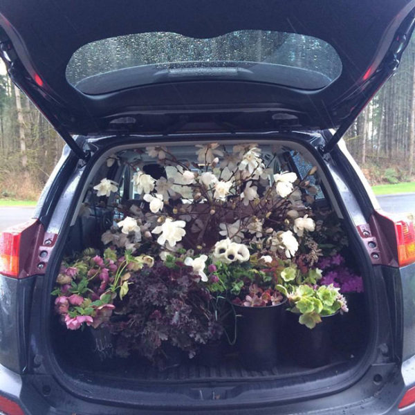 Flirty Fleurs car loaded with flowers for a floral design class in Seattle