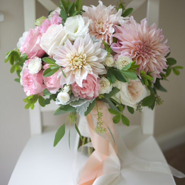 Bella Fiori - bridal bouquet of pink garden roses, cafe au lait dahlias,