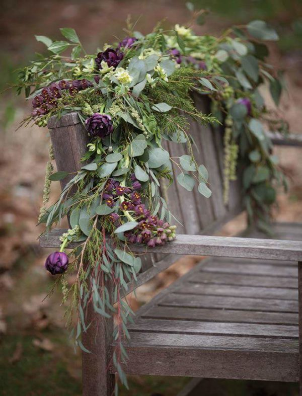 From Amanda at Alluring Blooms, Wisconsin - a garland with Persica intwined into it.
