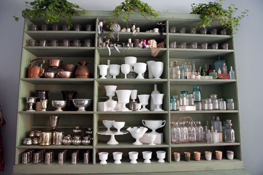 Sullivan Owen Lorraine Daley Wedding Photography - florist shelves filled with vases and containers