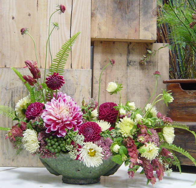 Dandelion Ranch, burgundy floral arrangement