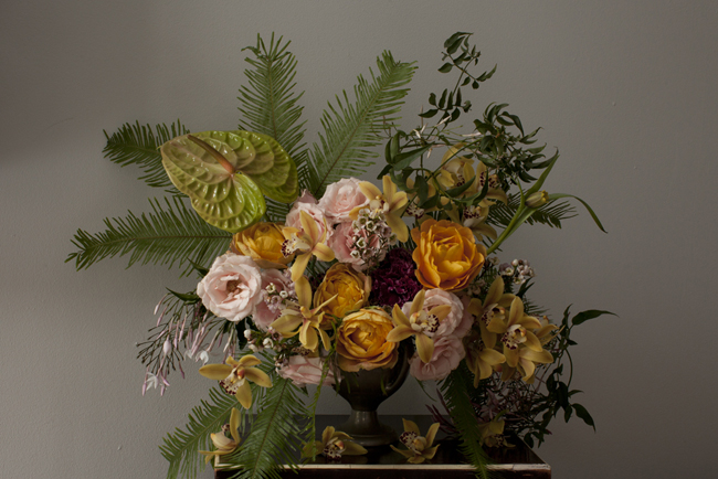 Entriken Studio - peach, gold floral arrangement