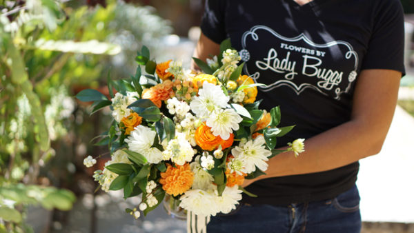 Flowers by Lady Buggs - orange and white bouquet