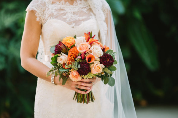 Flowers by Lady Buggs - peach and burgundy bouquet