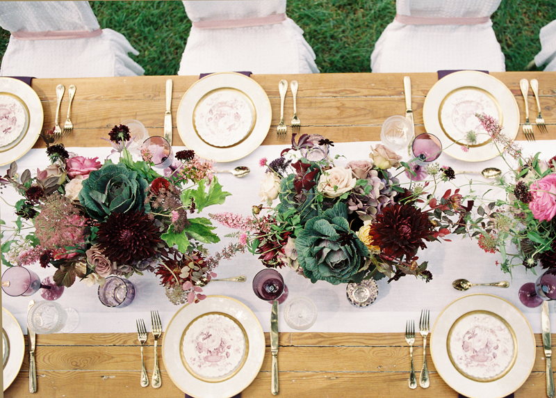 Myrtie Blues Floral Design, Florida. Lauren Kinsey Photography. Centerpieces with burgundy, plum and green flowers.