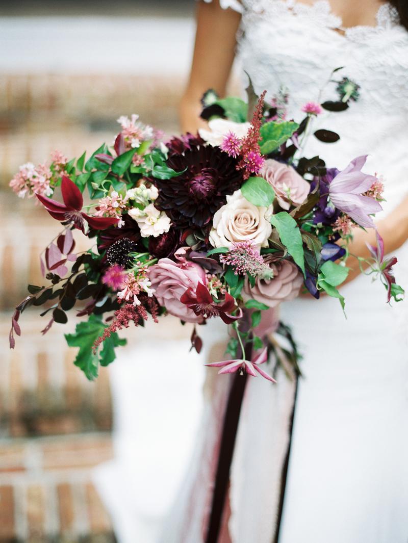 Myrtie Blues Floral Design, Florida. Lauren Kinsey Photography. Bridal Bouquet with burgundy, plum, and cream flowers.