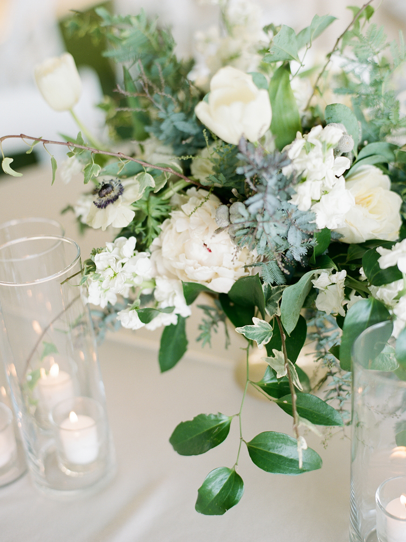 Myrtle Blue Floral Design, Florida. Shannon Griffin Photography. white and green compote centerpiece.