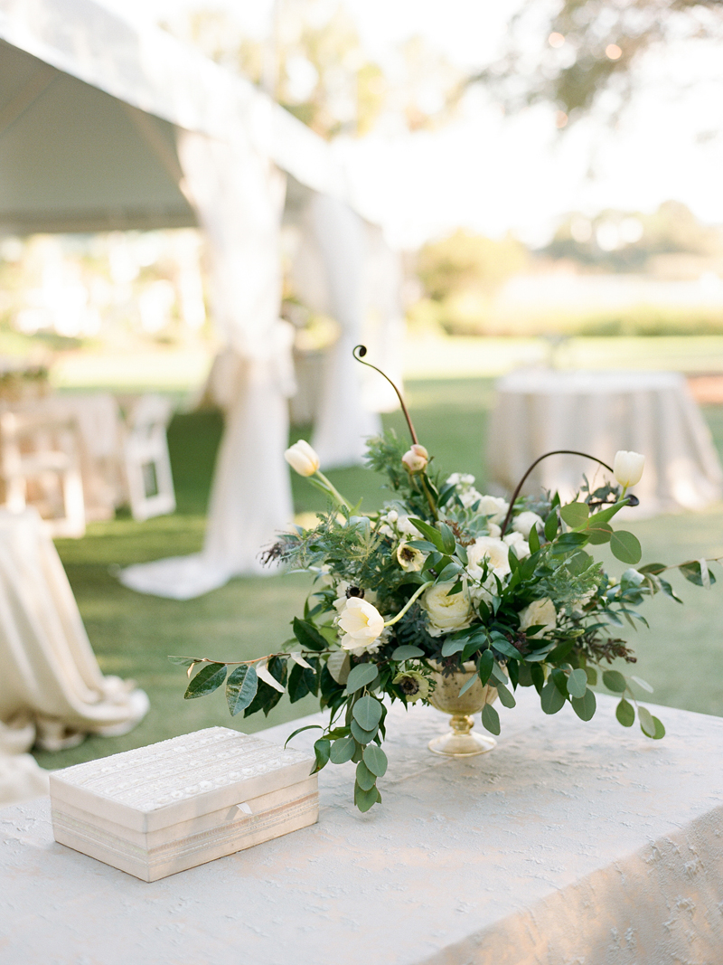 Myrtle Blue Floral Design, Florida. Shannon Griffin Photography. White and Green compote flower design.