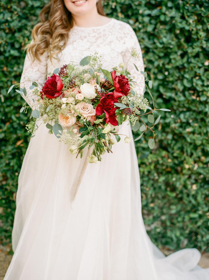 Myrtle Blue Floral Design, Florida. Shannon Griffin Photography. Bridal bouquet with burgundy and cream flowers.