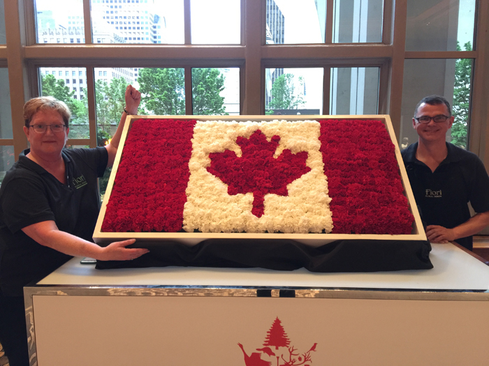 Fiori Floral Design - Creating the Canadian Flag out of Flowers