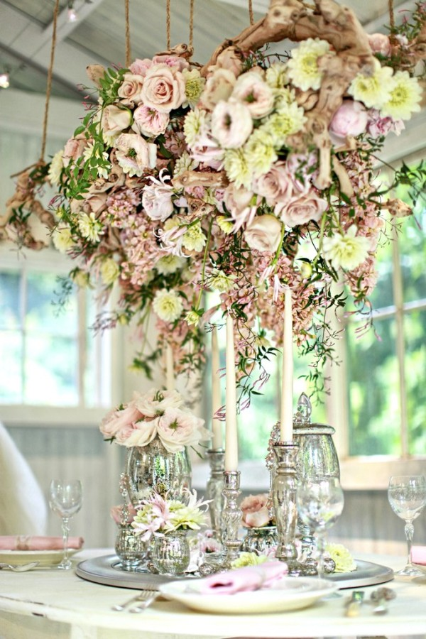 Wedding wednesday floral chandeliers flirty fleurs the florist yvonne design pastels floral chandlier aloadofball Images