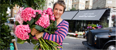 Nikki Tibbles Holding Gorgeous Pink Hydrangea And Garden Roses In Front Of Her Wild At Heart Flowers London England