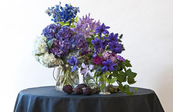 purple and blue clematis hydrangea delphinium