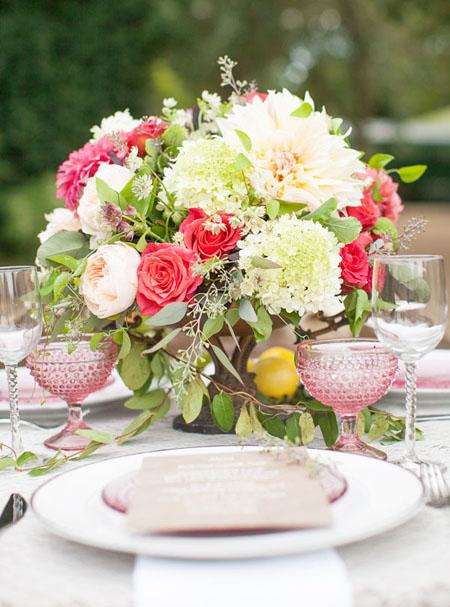 blush and pink flower arrangement